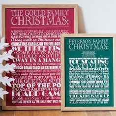 Personalised Christmas Traditions Typographic Wall Art Print | Word Art Poster | Picture