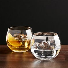 With its dramatic, broad shape and platinum band, this rounded rocks glass is worthy of your finest spirits. European craftsmen make our exclusive glassware in traditional wooden molds with the metallic band hand-applied after the rim is cut and fire-polished perfectly smooth.
