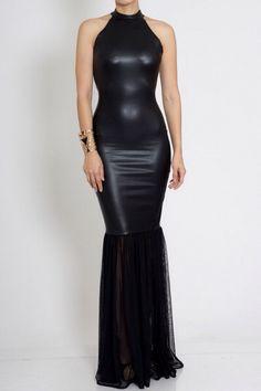 Beautiful black leather dress Femmeforteshop@gmail.com