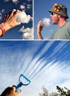 Image Nation: 50 Nifty Forced Perspective Photographs  These are clever uses of nature to create a picture that doesn't distort perspective, but rather makes use of natural objects to replace  other objects.  We know that clouds are in the sky and are a long way away.