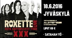 """Jyväskylän kesäkauden avaus saa toistamiseen huikean tähtivieraan, kun Sataman Yön lavalle nousee lauantaina 18.6. ruotsalainen Roxette. Sataman Yö on osana yhtyeen maailmanlaajuista """"XXX – The 30th Anniversary Tour"""" –kiertuetta, joka alkoi kaksi vuotta sitten. Varsinaista juhlavuotta vietetään kuitenkin nyt kun yhtyeen Neverending Love –ensisinglen ilmestymisestä on tasan 30 vuotta."""