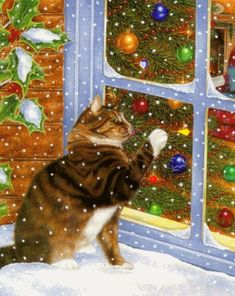 christmas scenes Art Licensing Painting - Christmas Visitor by Anne Moritmer Merry Christmas, Christmas Scenes, Christmas Animals, Vintage Christmas Cards, Christmas Cats, Winter Christmas, Christmas Time, Xmas Holidays, Vintage Cards