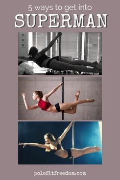 5 Ways to get into Superman - Pole Dancing Trick - Master this pose today! Superman (or Superwoman) is an intermediate-advanced pole dance trick. It is a beautiful, elegant and versatile trick to have Pole Dance Moves, Dance Tips, Pole Dancing, Pole Fitness Moves, Barre Fitness, Fitness Tips, Superman, Pole Tricks, Strong Shoulders