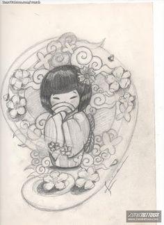 draw kokeshi dolls 3d - Pesquisa Google