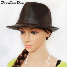BooLawDee Men sheepskin leather fedora hat solid black grown for male winer and autumn leisure warming 56 57 58 59 60cm H62030