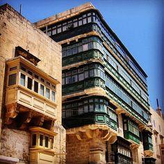 We love this shot of these green balconies in #valletta. Thanks @Julie Forrest Forrest Magro for the photo! #malta #architecture #travel #summer │ #VisitMalta visitmalta.com