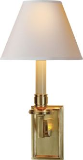 "(4) in library - DEAN LIBRARY SCONCE - natural brass with paper - $265 - 40W  Height: 13"" Width: 6 1/2"" Extension: 7"" Backplate: 2 3/4"" x 4 1/2"" Shade: 3"" x 6 1/2"" x 5"" Wattage: 40 Watt Type B"