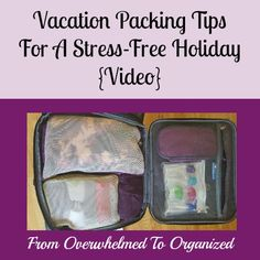 Overwhelmed getting ready for a vacation? These video tips will make it easier! Including a free printable packing list, tips for packing light, and tips for staying organized during your vacation so you can enjoy yourself!