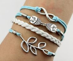 Ancient silver infinity & owl charm bracelet with by luckystargift, $4.89