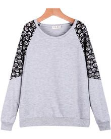 Grey Contrast Lace Skull Print Loose Sweatshirt US$15.00