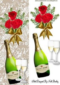 CHAMPERS AND BOUQUET OF RED ROSES TALL DL CARD on Craftsuprint designed by Nick Bowley - CHAMPERS AND BOUQUET OF RED ROSES TALL DL CARD, Makes a lovely card - Now available for download! Wine Bottle Images, Champagne Flowers, Decoupage Printables, Image 3d, 3d Paper Crafts, 3d Cards, Decoupage Paper, Wedding Wishes, Flower Frame