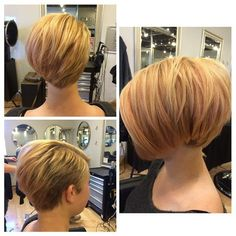 Short Blonde Bob Haircut...not the crazy shaved side, but love the long side & back shape....