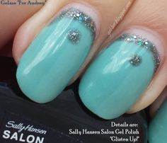 "China Glaze Gelaze in ""For Audrey"" with Sally Hansen Salon Gel Polish in ""Glisten Up!"" accents."