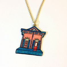 Orleans Ave. Necklace – Watermelon and Teal New Orleans Shotgun House, $30 on Etsy