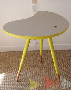 table tripode vintage revisité: www.lesflechettes.com