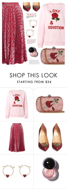 """""""Love & Devotion"""" by beautifully-eclectic ❤ liked on Polyvore featuring Ashish, Gucci, Christian Louboutin, Kate Spade, love, heart and valentinesday"""