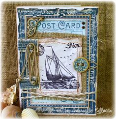 Nautical Card made by Gabrielle Pollacco using Graphic45 'By the Sea' collection papers, stamps, chipboard and Staples/brads. http://gabriellepollacco.blogspot.ca/2014/07/guest-designer-for-graphic-45-plusvideo.html #Graphic45 #GabriellePollacco #Cards