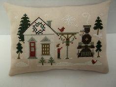Train Station At Christmas Cross Stitched Mini by luvinstitchin4u, $19.99