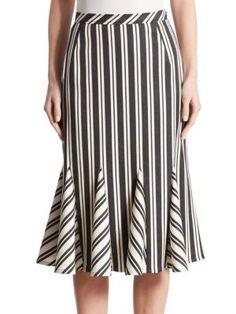 Altuzarra Crocus Striped Wool-blend Skirt In Black And Off-white Gored Skirt, Ruffle Skirt, Dress Skirt, Striped Fabrics, Summer Trends, Flare Skirt, Skirt Fashion, Summer Dresses, Skirt