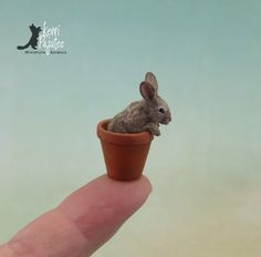 Dollhouse Miniature cottontail bunny in a flower pot ~ this is a freehand sculpture of polymer clay & natural fibers.