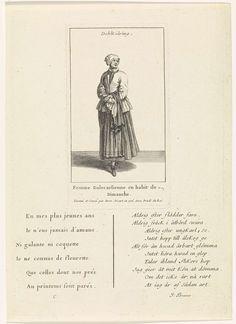Bernard Picart | Zweedse vrouw gekleed op haar zondags, Bernard Picart, Johan Brauner, 1706 | Figuur in eigentijds kostuum. De prent heeft een titel in het Zweeds en een onderschrift in het Frans. Onder de voorstelling een zesregelig gedicht in het Frans en een tienregelig gedicht in het Zweeds.