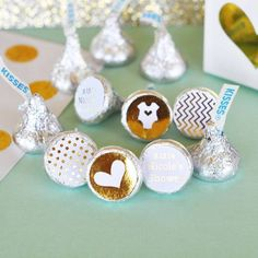 Personalized Metallic Foil Hershey's® Kisses Labels Trio (set of 108) - Baby -   - Pink Poppy Party Shoppe - 1