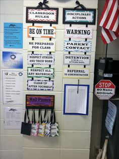 Rules, discipline, and hall passes display in my high school art room!