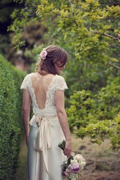 Gorgeous bride Amy wore a silk slip and lace tee | Wedding dress by Halfpenny London