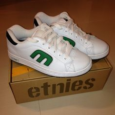 Etnies Sneakers Etnies Sneakers. White with green. Never worn. Brand new. Comes with box. Women's size 8. Etnies Shoes Sneakers
