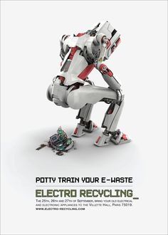 "Look! A robot poos electronic stuff! Ha ha! But really, this #PrintAdvertising campaign from Euro RSCG is a tongue-in-cheek execution of quite a serious issue (electronic recycling). 🤖 You may be wondering how an excreting robot is relevant but it all becomes clear with the tag line, ""potty train your e-waste"".  The artistic direction is simple yet effective. The font at the bottom of this #PrintAd is also big enough to entice the reader's attention and ensure the message has firmly been…"