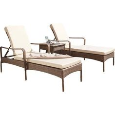 Panama Jack Key Biscayne 3 Piece Chaise Lounge Set with Cushion Fabric: Canvas Canvas