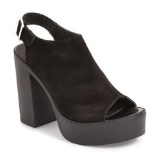 "Topshop 'Nya' Platform Sandal, 4 1/2"" heel (48.150 CRC) ❤ liked on Polyvore featuring shoes, sandals, black, black chunky heel sandals, high heel sandals, ankle wrap sandals, black slingback sandals and chunky heel sandals"
