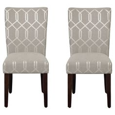 Parson Dining Chair Wood/Gray Lattice (Set of 2) - HomePop. Image 1 of 4.