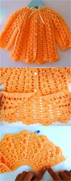 Baby Dress Diy Easy Crochet Patterns 35 Ideas For 2019 Easy Crochet Patterns, Baby Patterns, Crochet Yarn, Crochet Ideas, Crochet Baby Cardigan, Crochet Baby Clothes, Crochet Jacket, Abaya Mode, Baby Pullover