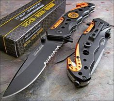 "Tac Force A/O Speedster Service Linerlock. 4 1/2"" closed. 3 1/4"" assisted opening black finish stainless blade with thumb studs. Durable black composite handles"