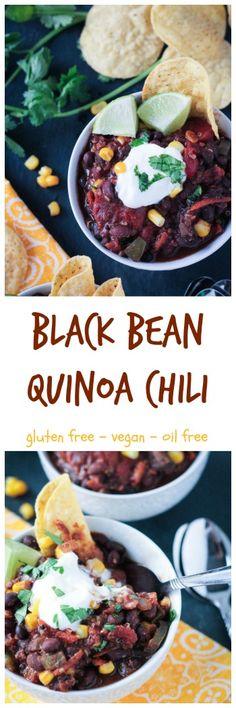 Black Bean Quinoa Chili - vegan | gluten free | cocoa powder | vegetarian | plant protein | oil free | healthy | clean eating | plant based via @veggieinspired