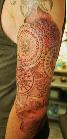 Red and Black mandalas for Sam. Tattooed by Dotwork Damian at Blue Dragon Tattoo.