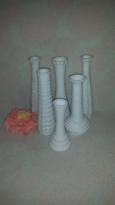"""Vintage Lot of 6 Milk Glass Flower Vases, Wedding Reception, Party Decor, Most 9"""" Tall, Centerpieces, White vases,  Bridal Showers by JunkYardBlonde on Etsy"""