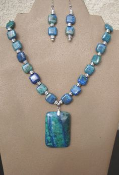 Blue/Teal Lapis Chrysocolla necklace with Pendant by LolasWonders