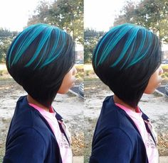 Colorful hair mixed on top of black . . . Great weave option