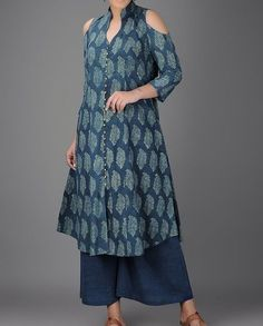 "82 Likes, 14 Comments - The Indian Ethnic Co. (@theindianethnicco) on Instagram: ""Shop this contemporary cold shoulder kurta, hand blockrinted in Ajrakh and vegetable dyed in…"""