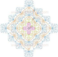 Crochet Patterns Diagram My crochet diary – with many free tutorials, tips, links and ideas … Art Au Crochet, Crochet Wool, Crochet Blocks, Crochet Squares, Crochet Stitches Chart, Crochet Motif Patterns, Crochet Diagram, Point Granny Au Crochet, Bavarian Crochet