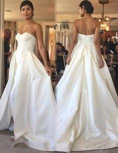Generous Sweetheart Sweep Train Wedding Dress with Lace Legsplit,Fashion Bridal Dress,Sexy Party Dress,Custom Made Evening Dress