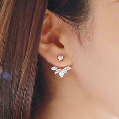 Hot Koop Crystal Dubbelzijdig Blad Oorbel Mode Oor Jas Oor Clips Oorbellen voor Vrouwen Bijoux Sieraden Brincos Mujer
