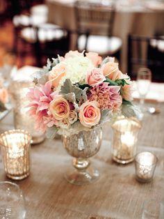 Low Peach Wedding Centerpiece on mercury glass vase ~ Photography: Lane Dittoe, Floral: Annette Gomez