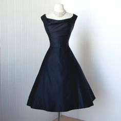 vintage 1950's dress ...simply exquisite couture designer CEIL CHAPMAN navy silk shelf-bust full skirt cocktail party pin-up dress m l