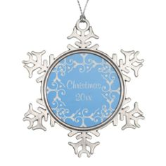 Silver Elegance Blue Christmas Snowflake Ornament 5 SOLD today!