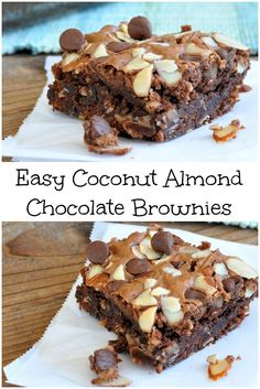 To make these Easy Coconut Almond Chocolate Brownies, start with your favorite brownie mix, and coconut, almonds, & chocolate chips. Simple and delicious!