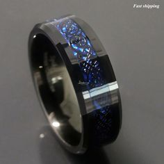 sz 6 - 13 New! Dramatic Dragon Celtic Pattern Inlay over Deep Blue in Black Tungsten Carbide Men's Wedding Ring / 8mm Band Affordable Luxury waaaaannnnnnttt