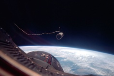 Nasa An Agena target vehicle, attached to the Gemini 11 capsule by a tether. Astronauts were able to create a small amount of artificial gravity by spinning the two spacecraft connected by a tether. Grand Tour, Cosmos, Project Gemini, Nasa Space Program, Earth View, Apollo Program, Online College Degrees, Moon Missions, Nasa Astronauts